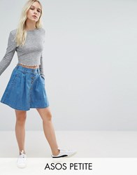 Asos Petite Denim Button Front Mini Skater Skirt In Mid Wash Blue Blue