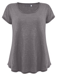Mint Velvet Shimmer T Shirt Top Grey
