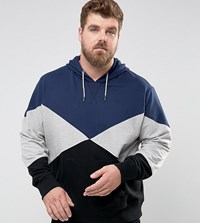 Another Influence Plus Panelled Pull Over Hoodie Navy