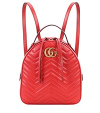 Gucci Gg Marmont Matelasse Leather Backpack Red