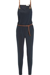 Michael Michael Kors Faux Leather Trimmed Satin Jersey Jumpsuit Midnight Blue