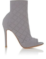 Gianvito Rossi Women's Perforated Knit Ankle Booties Grey
