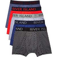 River Island Mens Blue Polka Dot Print Trunks Multipack
