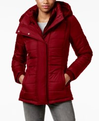 Rampage Hooded Quilted Puffer Coat Only At Macy's Red