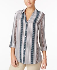 Charter Club Striped Roll Tab Blouse Only At Macy's Cloud Combo