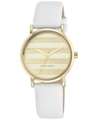 Nine West Women's White Leather Strap Watch 33Mm Nw 1864Chwt