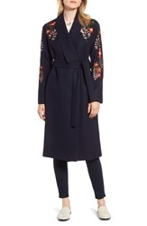 Ted Baker London Embroidered Coat Navy