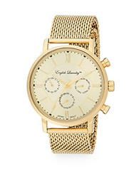 English Laundry Goldtone Stainless Steel Chronograph Mesh Bracelet Watch