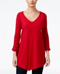 Styleandco. Style Co. V Neck Handkerchief Hem Top Only At Macy's New Red Amore