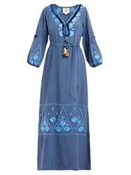 Figue Lola Floral Embroidered Silk Crepe Dress Blue Print