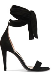 Off White Bow Suede Sandals Black