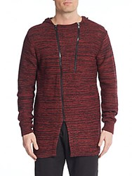 American Stitch Space Dye Asymmetrical Zip Hoodie Red