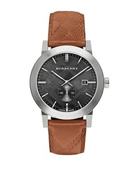 Burberry Stainless Steel Tan Check Embossed Leather Strap Watch Bu9905 Brown