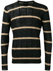 Roberto Collina Striped Ribbed Sweater Black