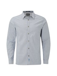 White Stuff Men's Besar Stripe Long Sleeve Shirt Blue