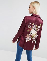 Asos Satin Pyjama Blouse With Floral Embroidered Back Oxblood