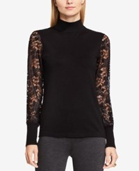 Vince Camuto Lace Mock Turtleneck Top Rich Black