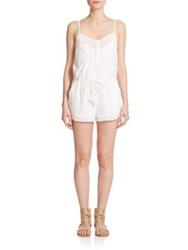 Twelfth St. By Cynthia Vincent Lace Trimmed Linen Short Jumpsuit White