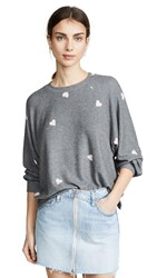 Lna Brushed Hearts Raglan Sweatshirt Grey Pink Hearts
