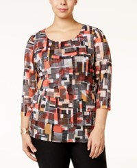 Alfani Plus Size Printed Tiered Mesh Top Only At Macy's Linear Color Block Reef