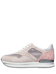 Hogan 50Mm H222 Suede And Glitter Sneakers Pink