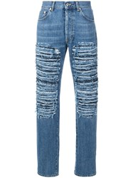 Alexander Mcqueen Ripped Loose Fit Jeans Blue