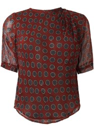 Etoile Isabel Marant Sheer Graphic Print Top Red