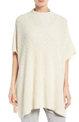 Eileen Fisher Women's Nubble Knit Cotton Funnel Neck Poncho