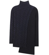 Stella Mccartney Asymmetrical Wool Blend Turtleneck Sweater Blue