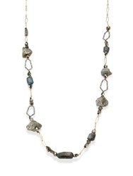 Alexis Bittar Elements Labradorite Rough Pyrite And Crystal Honeycomb Link Necklace Gold Multi