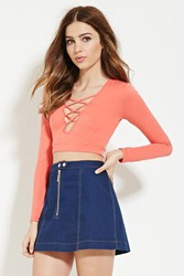 Forever 21 Crisscross Crop Top Coral