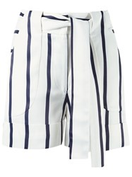 Giuliana Romanno Tie Fastening Striped Shorts Blue