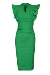 Jolie Moi Frilly Shoulder Bodycon Dress Green