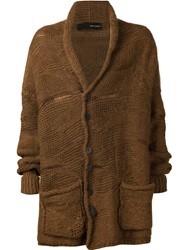 Isabel Benenato Chunky Knit Cardigan Brown