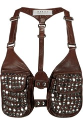 Marni Embellished Leather Harness Brown