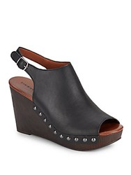 Lucky Brand Leather Peep Toe Slingback Wedge Sandals Black