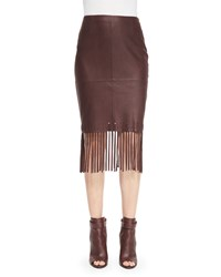 Elizabeth And James Jaxson Leather Skirt W Fringe Brown Women's Size 8