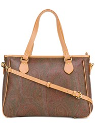 Etro Paisley Print Tote Women Calf Leather One Size Brown