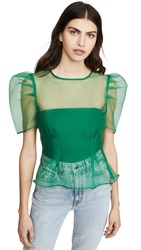 Endless Rose Puff Sleeve Sheer Top Green