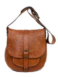 Patricia Nash Tooled Barcellona Leather Satchel Brown