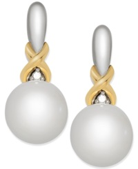 Macy's Cultured Freshwater Pearl 8Mm And Diamond Accent Drop Earrings In Sterling Silver And 14K Gold White