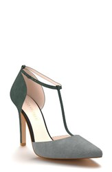 Shoes Of Prey Women's D'orsay T Strap Pump Hunter Green Suede