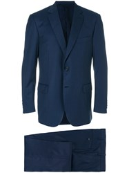 Brioni Stitch Detail Suit Silk Cotton Cupro Wool Blue