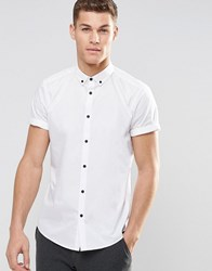 Asos Smart Shirt In White With Button Down Collar And Contrast Buttons In Short Sleeves White