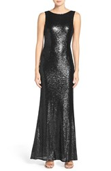 Lulus Women's Sleeveless Sequin Drape Back Gown Shiny Black