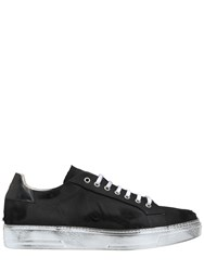 Msgm Destroyed Cotton Denim Sneakers