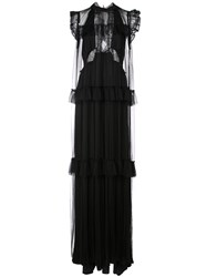 Vera Wang Lace Flared Frill Trim Dress Black
