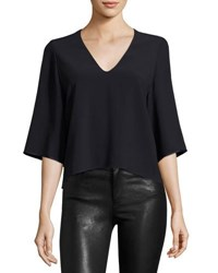 Helmut Lang Crepe And Satin Boxy Blouse Navy