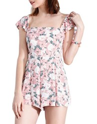 California Moonrise Blossom Floral Printed Romper Pink