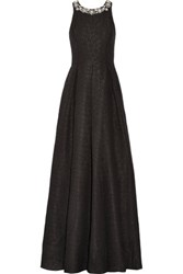 Marchesa Notte Embellished Silk Blend Cloque Gown Black